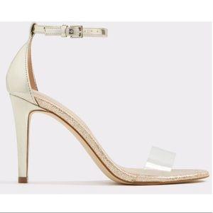 Aldo Metallic Gold Clear Strap Heels